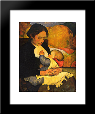 Maternity Mary Henry Breastfeeding: Modern Black Framed Art Print by Meijer de Haan