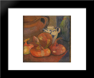 Nature Morte, Pichet Et Oignons: Modern Black Framed Art Print by Meijer de Haan