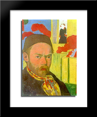 Self-Portrait: Modern Black Framed Art Print by Meijer de Haan