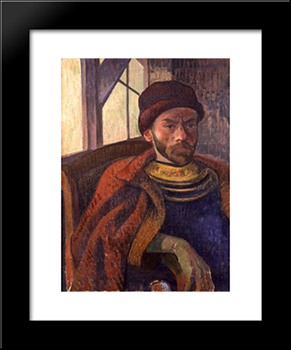 Self-Portrait In Breton Costume: Modern Black Framed Art Print by Meijer de Haan