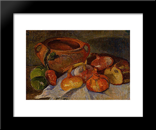 Still Life Pit, Onions, Bread And Green Apples: Modern Black Framed Art Print by Meijer de Haan