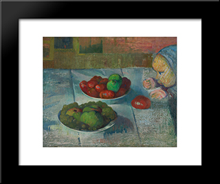 Still Life With A Profile Of Mimi: Modern Black Framed Art Print by Meijer de Haan