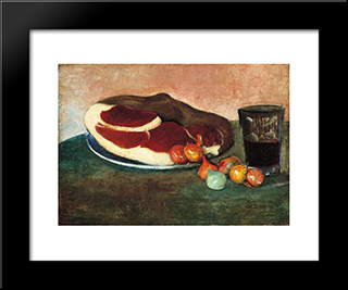 Still Life With Ham: Modern Black Framed Art Print by Meijer de Haan