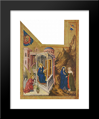Altar Of Philip The Bold, Duke Of Burgundy, Left Wing Annunciation And Visitation: Modern Black Framed Art Print by Melchior Broederlam