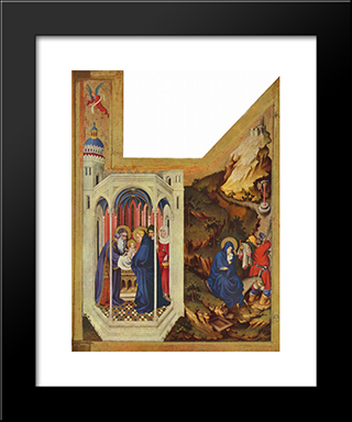 Altar Of Philip The Bold, Duke Of Burgundy, Right Wing The Presentation In The Temple And The Flight To Egypt: Modern Black Framed Art Print by Melchior Broederlam