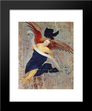 Angel (From Altar Of Philip The Bold): Modern Black Framed Art Print by Melchior Broederlam