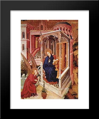 The Annunciation (From Altar Of Philip The Bold): Modern Black Framed Art Print by Melchior Broederlam