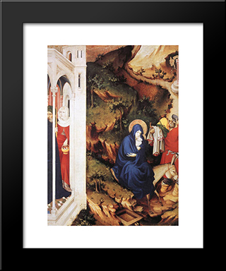 The Flight Into Egypt (From Altar Of Philip The Bold): Modern Black Framed Art Print by Melchior Broederlam