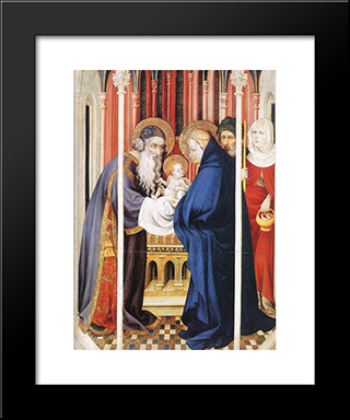 The Presentation Of Christ (From Altar Of Philip The Bold): Modern Black Framed Art Print by Melchior Broederlam