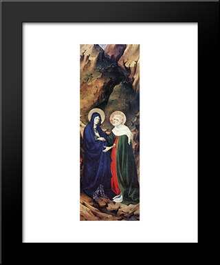 The Visitation (From Altar Of Philip The Bold): Modern Black Framed Art Print by Melchior Broederlam