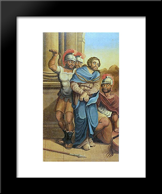 A Flagelaco De Cristo: Custom Black Wood Framed Art Print by Mestre Ataide