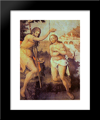Baptism Of Christ: Modern Black Framed Art Print by Mestre Ataide