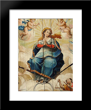 Nossa Senhora Da Porcioncula: Custom Black Wood Framed Art Print by Mestre Ataide