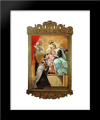 Nossa Senhora Do Carmo E So Simo Stock: Custom Black Wood Framed Art Print by Mestre Ataide