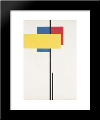 Composition No. 8: Modern Black Framed Art Print by Michel Seuphor