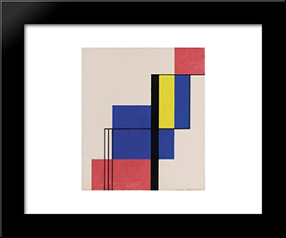 Composition V: Modern Black Framed Art Print by Michel Seuphor