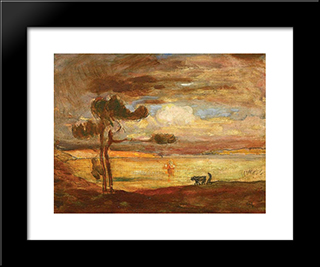 Allegorical Landscape: Modern Black Framed Art Print by Michel Simonidy