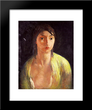 Portrait Of A Woman: Modern Black Framed Art Print by Michel Simonidy