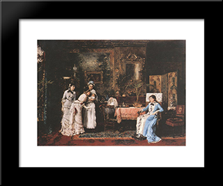 Baby Visitors: Modern Black Framed Art Print by Mihaly Munkacsy