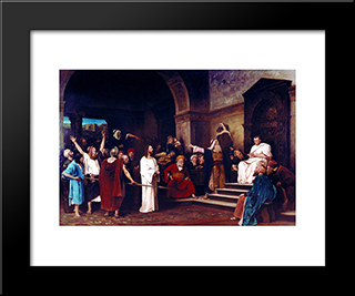 Christ Before Pilate: Modern Black Framed Art Print by Mihaly Munkacsy