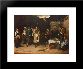 Drifters In The Night: Modern Black Framed Art Print by Mihaly Munkacsy