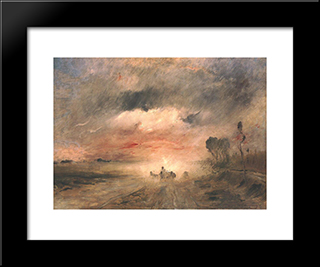 Dusty Country Road Ii: Modern Black Framed Art Print by Mihaly Munkacsy