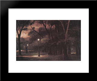 Evening In Parc Monceau: Modern Black Framed Art Print by Mihaly Munkacsy