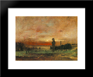 Grazing Cows: Modern Black Framed Art Print by Mihaly Munkacsy