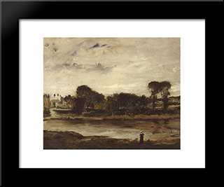 Landscape With River: Modern Black Framed Art Print by Mihaly Munkacsy