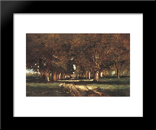 Line Of Trees: Modern Black Framed Art Print by Mihaly Munkacsy