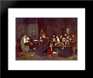 Making Lint: Modern Black Framed Art Print by Mihaly Munkacsy