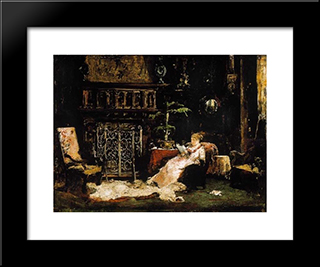 Paris Saloon (Wife Of The Artist): Modern Black Framed Art Print by Mihaly Munkacsy
