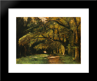Park In Colpach: Modern Black Framed Art Print by Mihaly Munkacsy