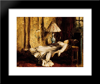 Relaxing Lady: Modern Black Framed Art Print by Mihaly Munkacsy