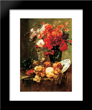 Still-Life With Flowers And Fruits: Modern Black Framed Art Print by Mihaly Munkacsy