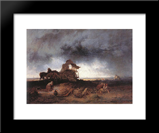 Storm At The Puszta: Modern Black Framed Art Print by Mihaly Munkacsy