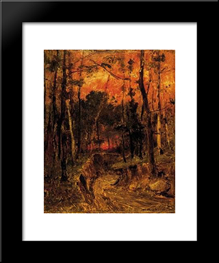 Sunset In The Forest: Modern Black Framed Art Print by Mihaly Munkacsy