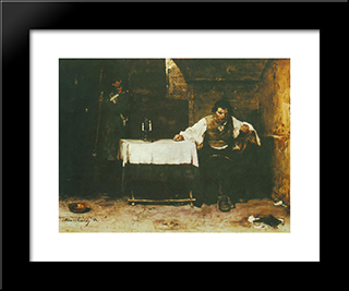 The Last Day Of A Condemned Man: Modern Black Framed Art Print by Mihaly Munkacsy