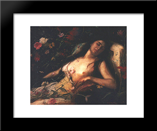 The Sacrifice Of Flowers: Modern Black Framed Art Print by Mihaly Munkacsy