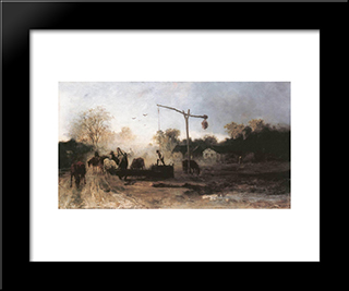 Watering: Modern Black Framed Art Print by Mihaly Munkacsy