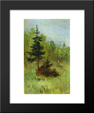 A Firtree: Modern Black Framed Art Print by Mikhail Nesterov