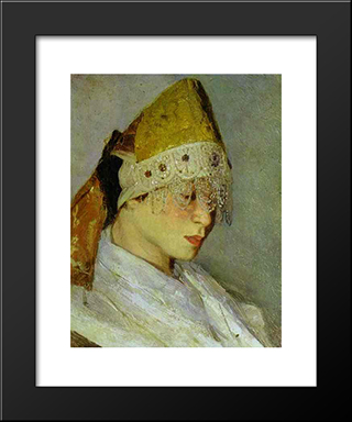A Girl With Kokoshnik (Woman'S Headdress In Old Russia): Modern Black Framed Art Print by Mikhail Nesterov