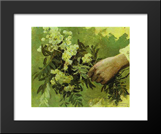 A Hand With Flowers: Modern Black Framed Art Print by Mikhail Nesterov