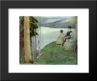 A Litte Fox: Modern Black Framed Art Print by Mikhail Nesterov