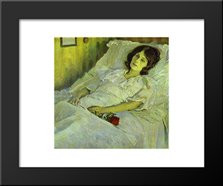 A Sick Girl: Modern Black Framed Art Print by Mikhail Nesterov