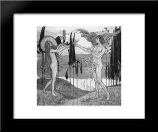 Adam And Eve: Modern Black Framed Art Print by Mikhail Nesterov
