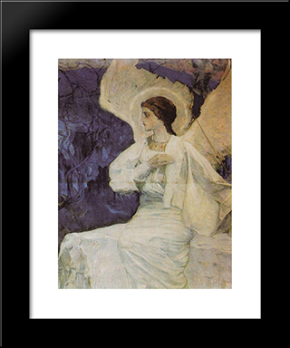Angel On The Holy Sepulchre: Modern Black Framed Art Print by Mikhail Nesterov