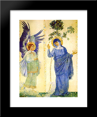 Annunciation: Modern Black Framed Art Print by Mikhail Nesterov
