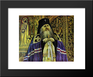 Archbishop (Portrait Of Antoniy Volynskiy): Modern Black Framed Art Print by Mikhail Nesterov