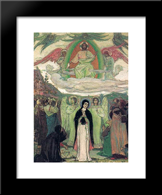 Ascension: Modern Black Framed Art Print by Mikhail Nesterov